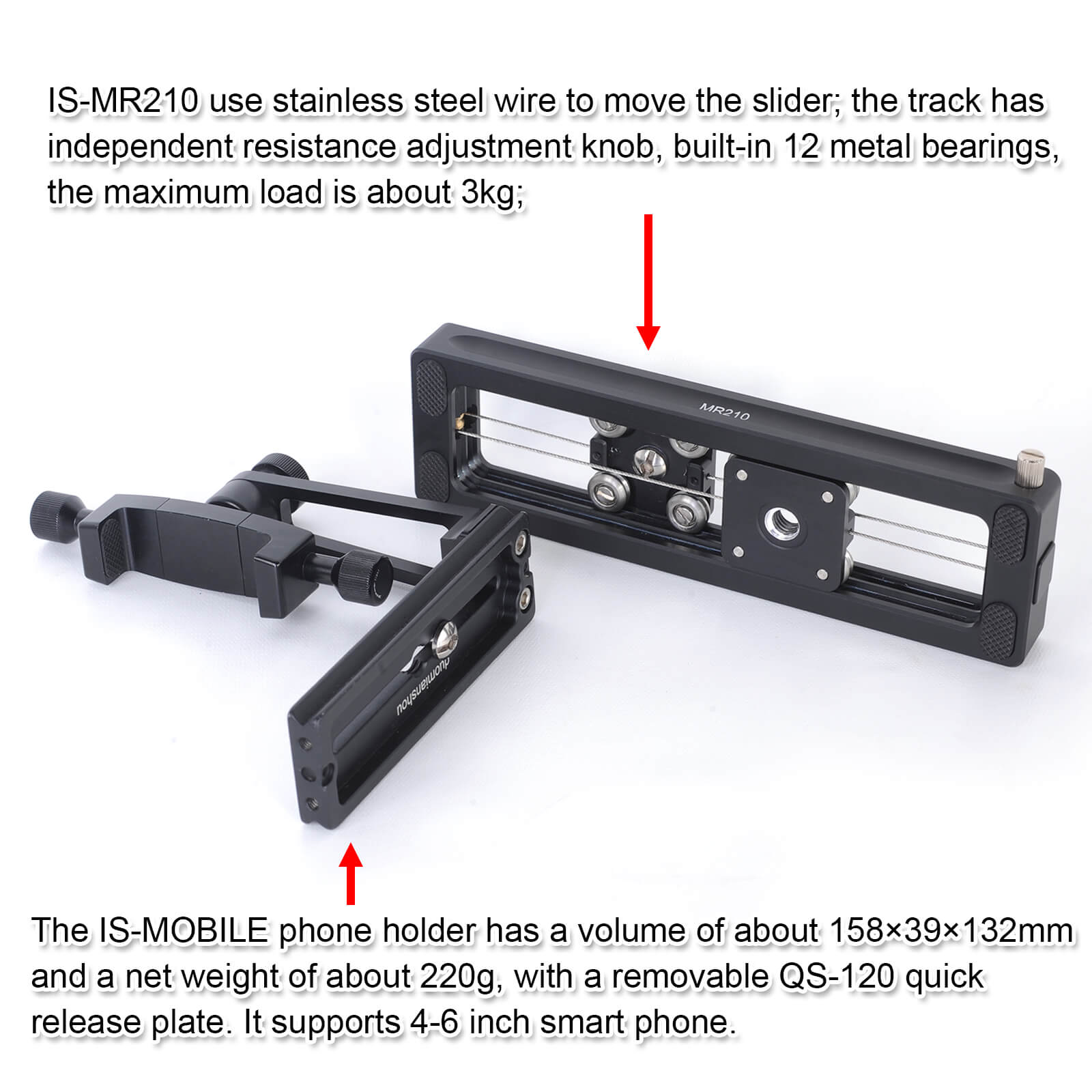 Details about Macro Focusing Rail Slider +Phone Mount Holder for Camera  MILC, Tripod Ball Head