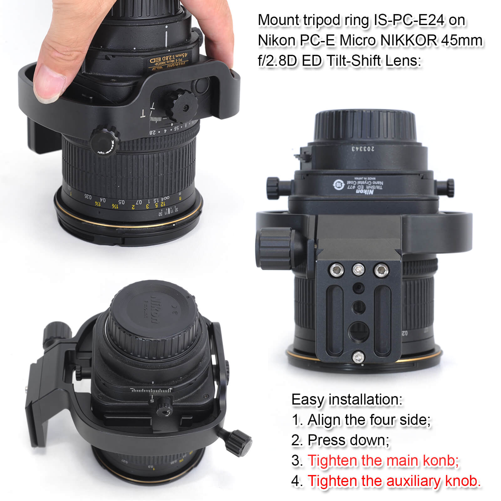 CNC All-Metal Lens Collar Tripod Mount Ring Compatible with Nikon ...